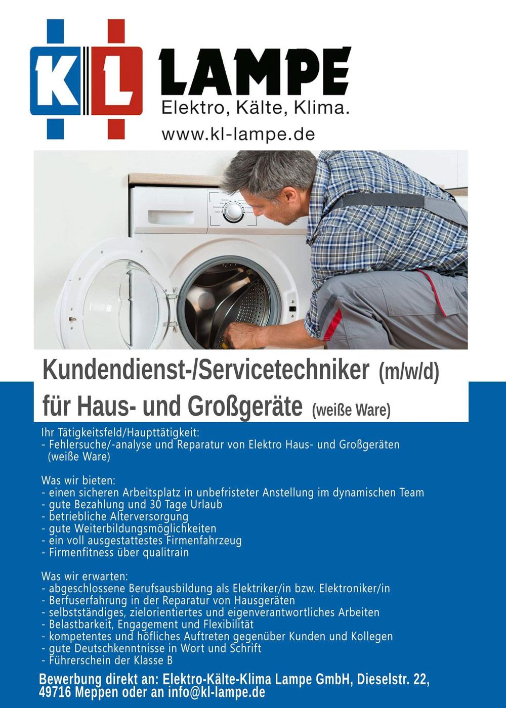 Stellenanzeige Servicetechniker Kundendienst bei KL Lampe in Meppen